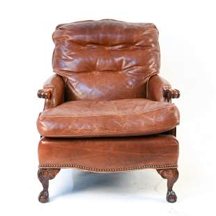 OLD HICKORY LEATHER LOUNGE CHAIR