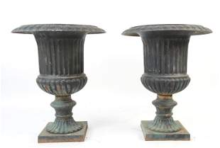 PAIR CAST IRON PLANTER URNS