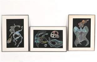 (3) A GEROSA MID-CENTURY ABSTRACT GOUACHE ON PAPER