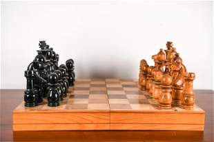 OVERSIZED CARVED WOOD CHESS SET