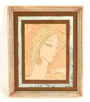 VINTAGE ART DECO LITHOGRAPH OF FLAPPER