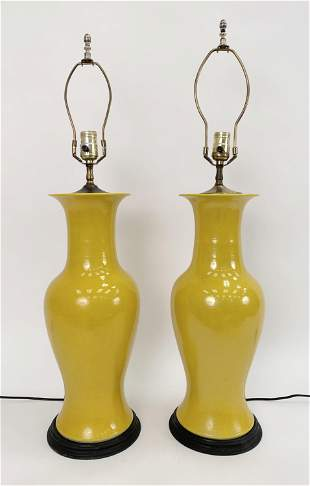 PAIR OF YELLOW CHINESE VASES MOUNTED AS LAMPS