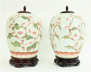 PAIR OF ANTIQUE CHINESE PORCELAIN GINGER JARS
