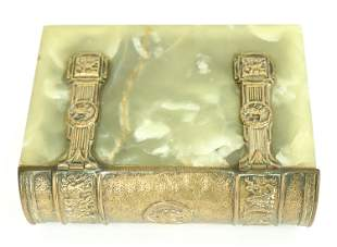 AUSTRIAN BRONZE & GREEN ONYX BOOK FORM BOX