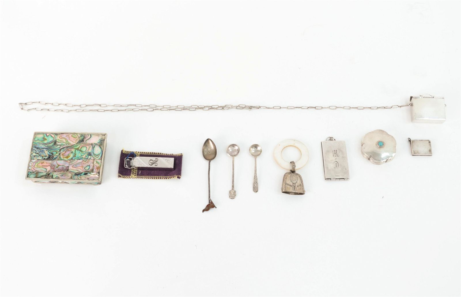 SILVER GROUPING INCL BOXES & PERFUME