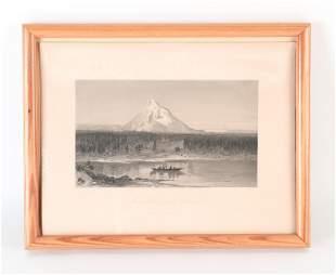 19TH C. ENGRAVING MOUNT HOOD