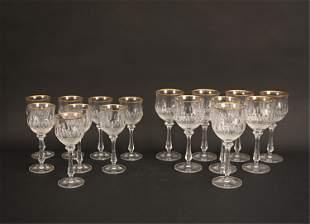 GOLD RIM CRYSTAL WINE GLASSES