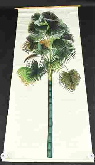 LARGE MODERN ASIAN STYLE PAINT ON FABRIC PALM TREE