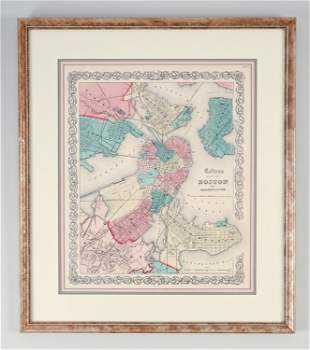 J.H. COLTON HAND COLORED MAP OF BOSTON, 1855