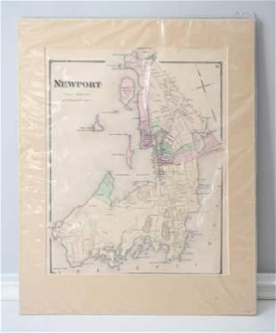 ANTIQUE HAND COLORED MAP OF NEWPORT, RI