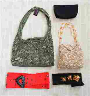 GROUPING OF WOVEN HANDBAGS AND VINTAGE BELTS