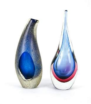 SOMMERSO ART GLASS TEARDROP VASE & SCULPTURE