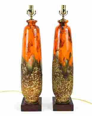 PAIR OF ATOMIC ORANGE LAVA GLAZE LAMPS, 1970S