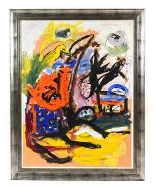 LARGE MODERN ABSTRACT PAINTING W/ COLLAGE