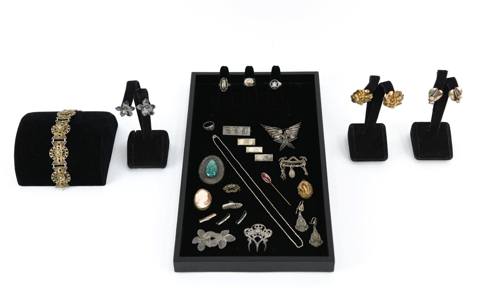 ANTIQUE JEWELRY GROUPING INCL STERLING SILVER