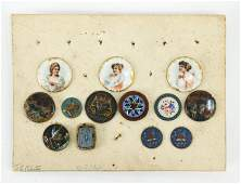 GROUPING OF ANTIQUE STUD BUTTONS ON CARD