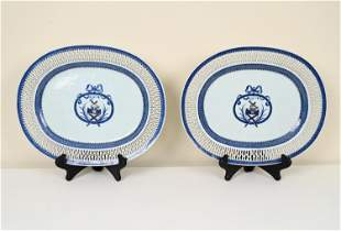 (2) CHINESE EXPORT ARMORIAL RETICULATED PLATTERS
