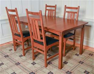 CONTEMPORARY STICKLEY DINING TABLE & (4) CHAIRS