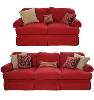 RED UPHOLSTERED SOFA & LOVESEAT
