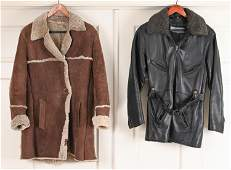 (2) FINE LEATHER & SHEARLING COATS