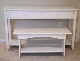 WHITE PAINTED CONSOLE & BENCH