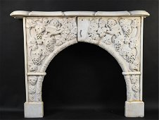 ANTIQUE CARVED MARBLE FIREPLACE MANTEL