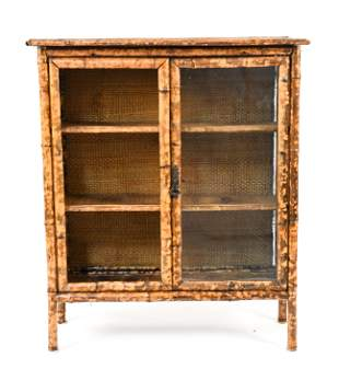 C.1900 AESTHETIC MOVEMENT BAMBOO & RATTAN CABINET