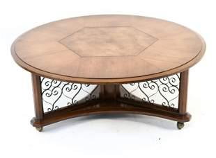 HOLLYWOOD REGENCY STYLE SCROLLWORK COFFEE TABLE