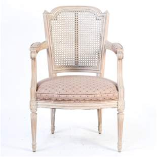 FRENCH PROVINCIAL CANE-BACK ARMCHAIR