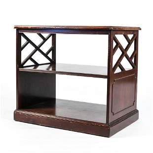 MAHOGANY LEATHER TOP SIDE TABLE