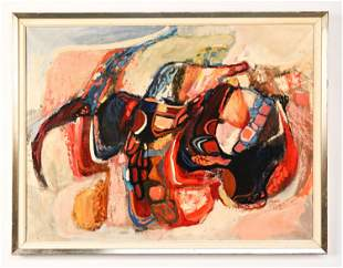 JORGEN WARING 1970 ABSTRACT OIL ON CANVAS
