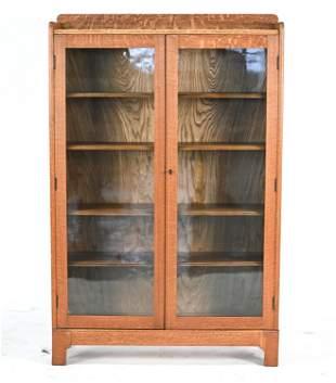 OAK GLASS SLIDING DOOR BOOKCASE CABINET