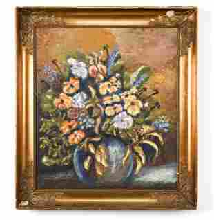 DANISH 1966 OIL ON CANVAS FLORAL STILL LIFE