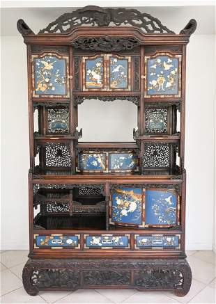 LARGE JAPANESE MEJI NLAID & CARVED ETAGERE CABINET