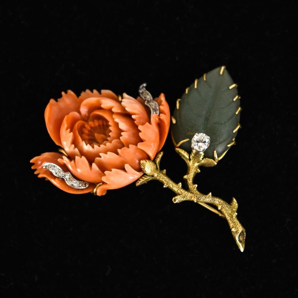 14K GOLD CARVED CORAL JADE & DIAMOND ROSE BROOCH