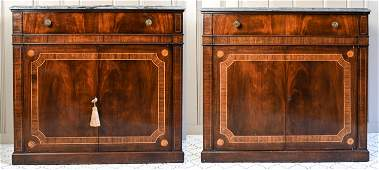 ANTIQUE EMPIRE STYLE MARBLE TOP INLAID SERVERS