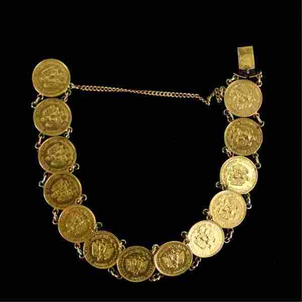 MEXICAN DOS PESOS GOLD COIN BRACELET