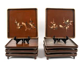 (8) JAPANESE LACQUERED SQUARE PLATES