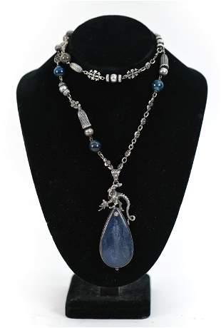 PERUZZI STERLING SILVER & BLUE STONE NECKLACE