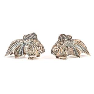 TIFFANY & CO. STERLING FISH SALT & PEPPER SHAKERS