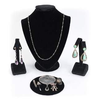 GROUPING OF ANTIQUE STERLING SILVER JEWELRY ETC