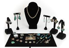 GROUPING OF NATIVE AMERICAN JEWELRY INCL. STERLING