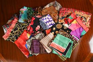 GROUPING OF DESIGNER SILK SCARVES 1980'S-90'S