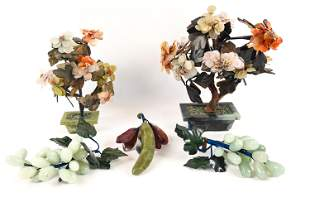 CHINESE CARVED STONE FRUIT & FLOWER SCULPTURES