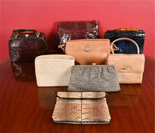 GROUPING OF VINTAGE EXOTIC LEATHER BAGS