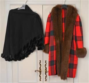 (2) VINTAGE WOOL CAPE & FUR-TRIMMED COAT