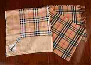 (2) C.1990'S BURBERRY SCARVES, WOOL & SILK