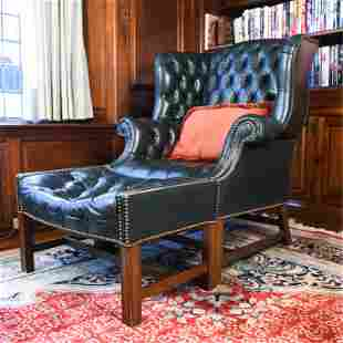 DREXEL HERITAGE CHESTERFIELD STYLE CHAIR & OTTOMAN