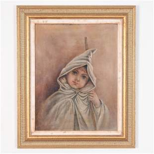19TH C. OIL ON CANVAS OF A GIRL