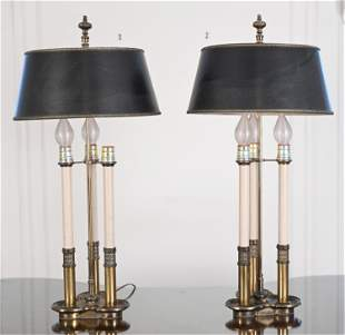 PAIR OF 3-LIGHT BOUILLOTE LAMPS